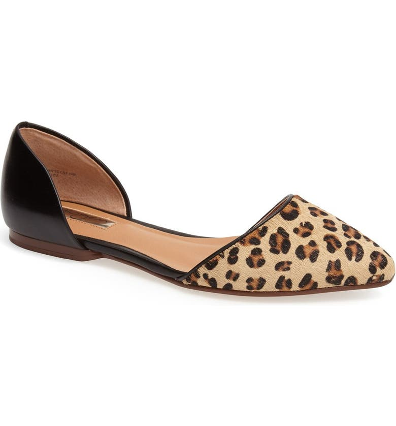 HALOGEN<SUP>®</SUP> 'Kayla' Leather & Calf Hair Pointy Toe Flat, Main, color, 240