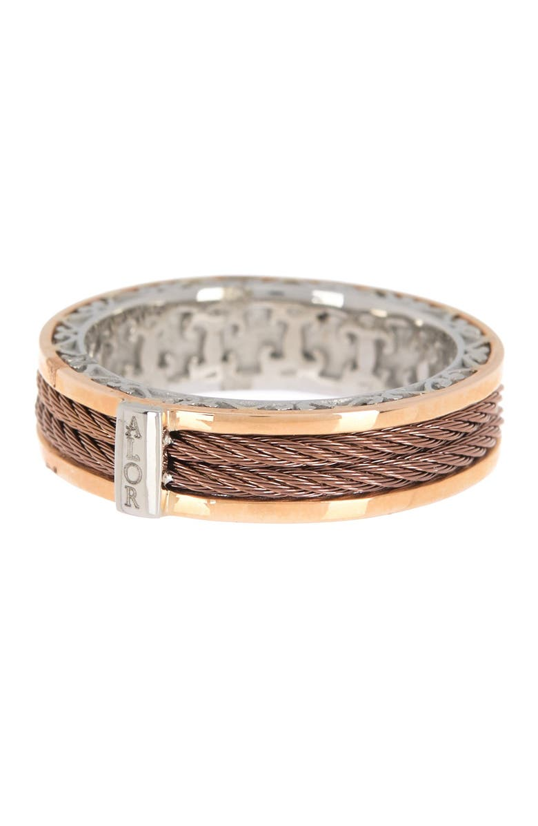ALOR 18K Yellow Gold & Stainless Steel & Bronze Twisted Cable Band Ring - Size 7, Main, color, BRONZE