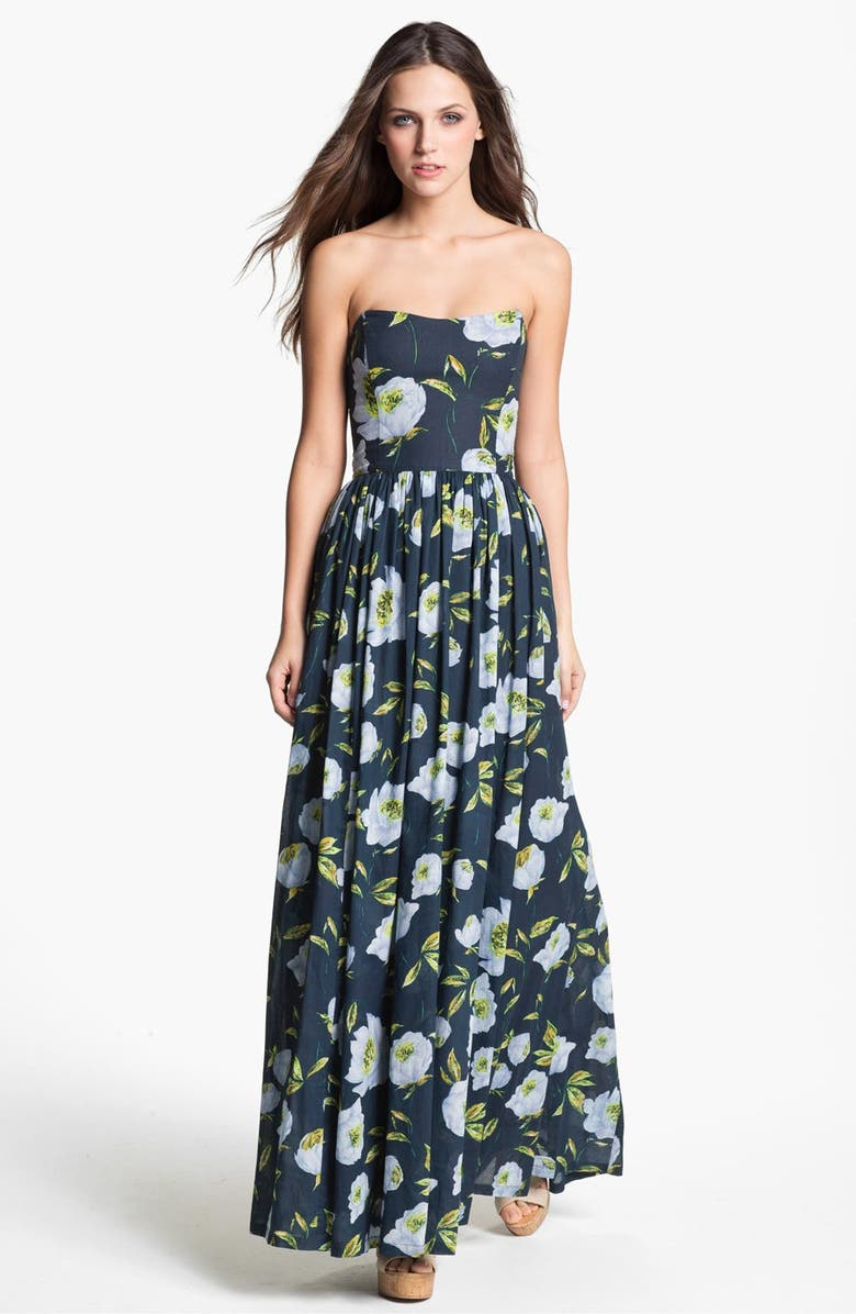 FRENCH CONNECTION 'Spring Bloom' Cotton Maxi Dress, Main, color, TOTAL ECLIPSE