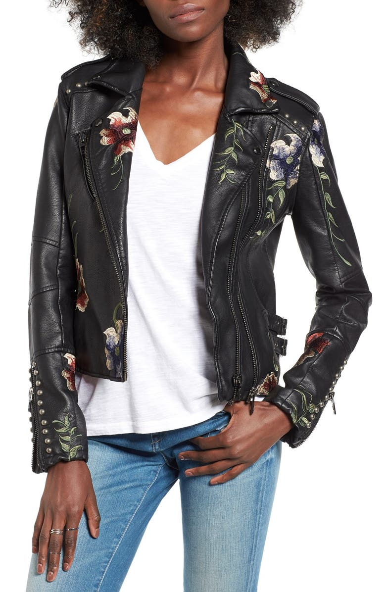 BLANKNYC Embroidered Faux Leather Moto Jacket, Main, color, 001