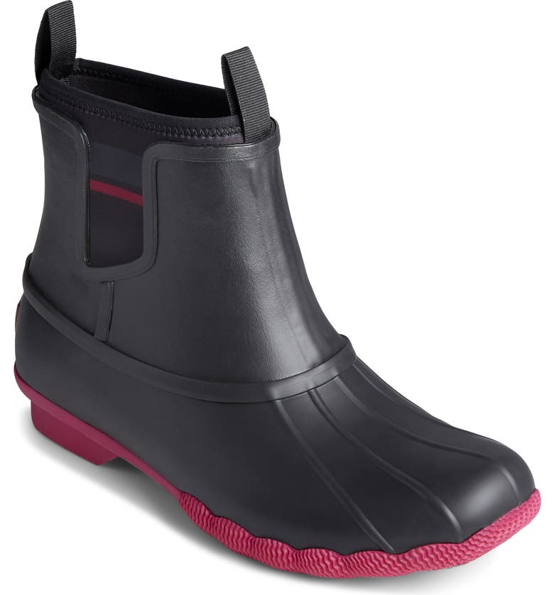 SPERRY Saltwater Chelsea Duck Boot, Main, color, BLACK/ HOT PINK