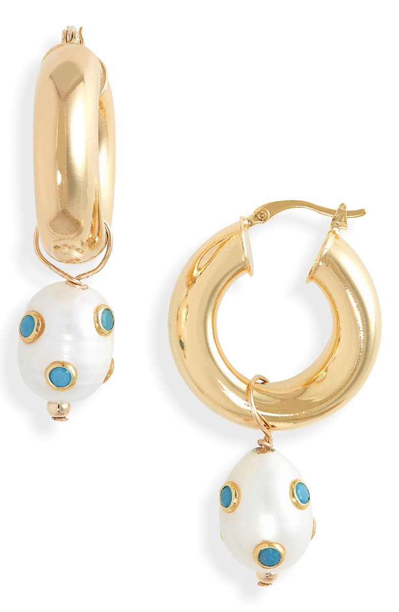 ÉLIOU Lamia Freshwater Pearl & Turquoise Hoop Earrings, Main, color, TURQUOISE