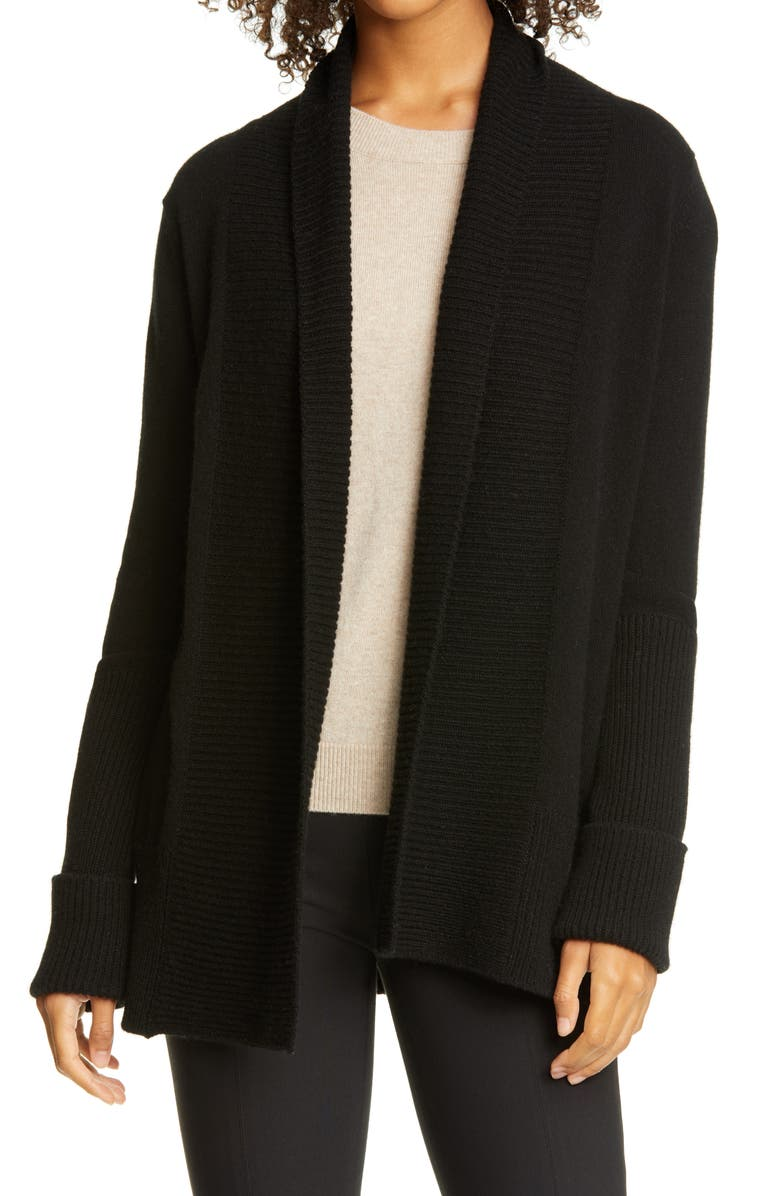 VINCE Rib Front Wool & Cashmere Cardigan, Main, color, BLACK