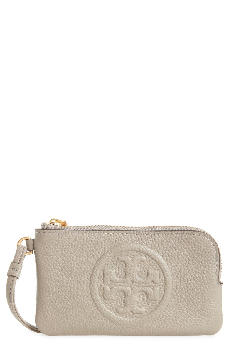TORY BURCH Perry Bombé Leather Card Case, Main, color, GRAY HERON