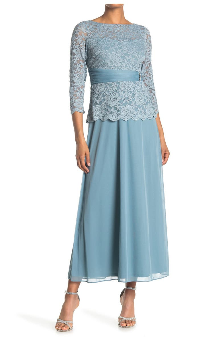 MARINA Mother-of-the-Bride Lace Gown, Main, color, SLATE