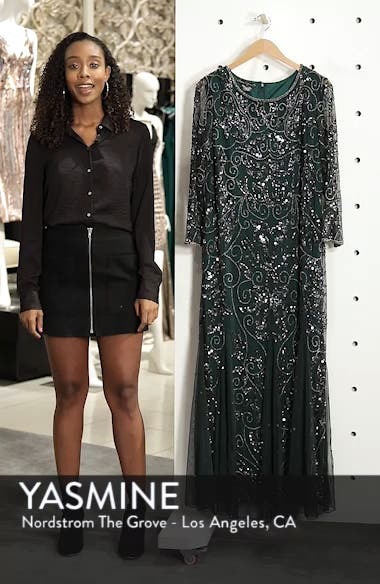 Embellished Three Quarter Sleeve Gown, sales video thumbnail