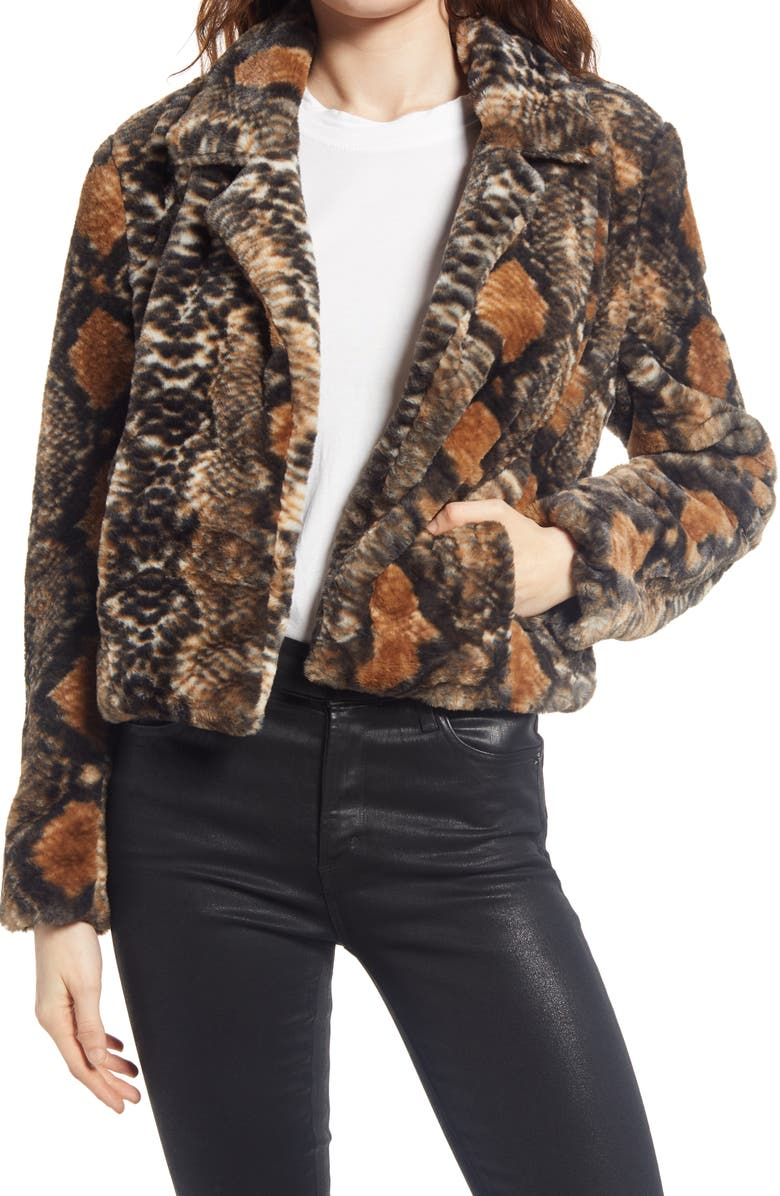 BLANKNYC Mixed Print Faux Fur Jacket, Main, color, D FOR DANGER