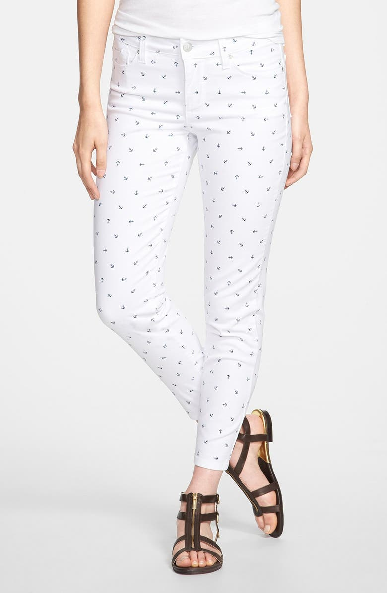 NYDJ 'Clarissa' Print Fitted Stretch Ankle Jeans, Main, color, 103