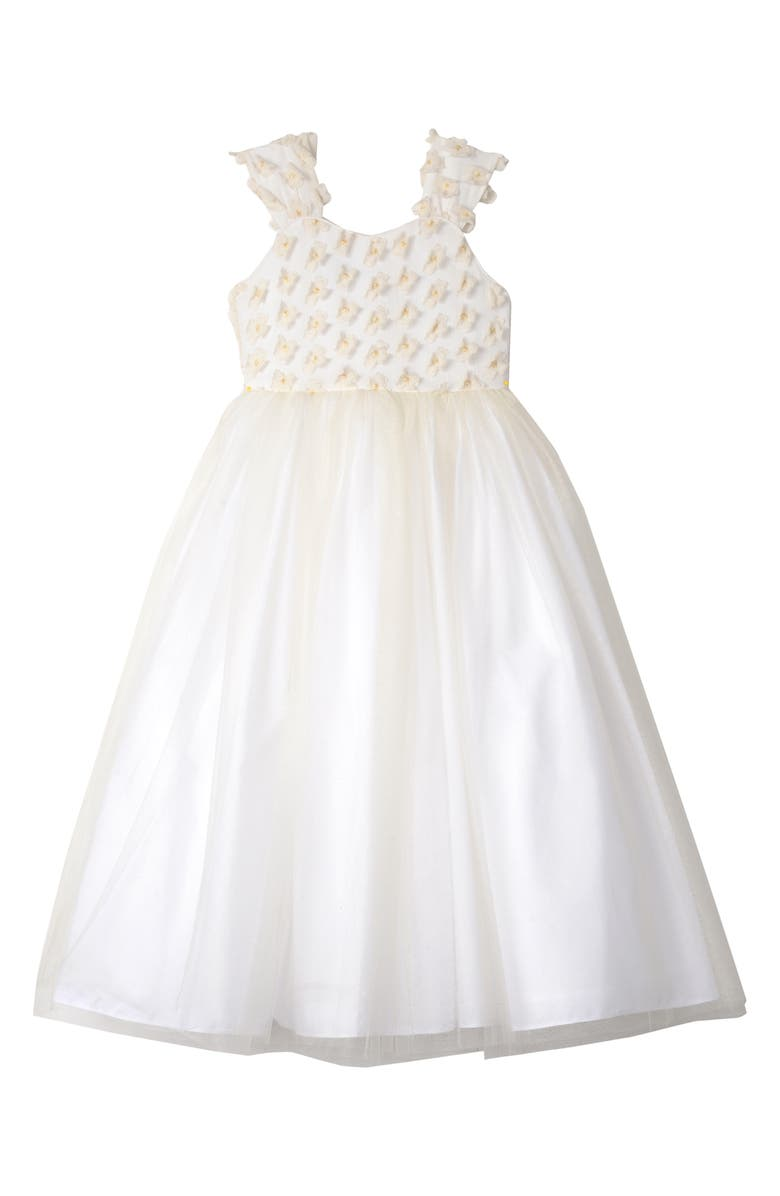 BADGLEY MISCHKA COLLECTION 3D Flower Tulle Dress, Main, color, IVORY