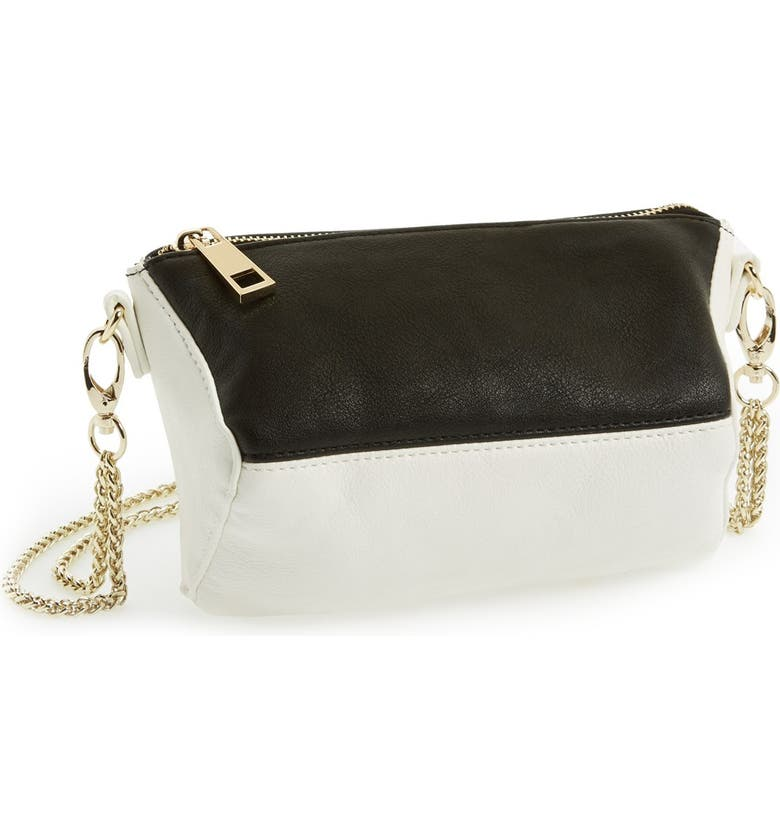 POVERTY FLATS BY RIAN 'Small' Crossbody Bag, Main, color, BLACK/ WHITE