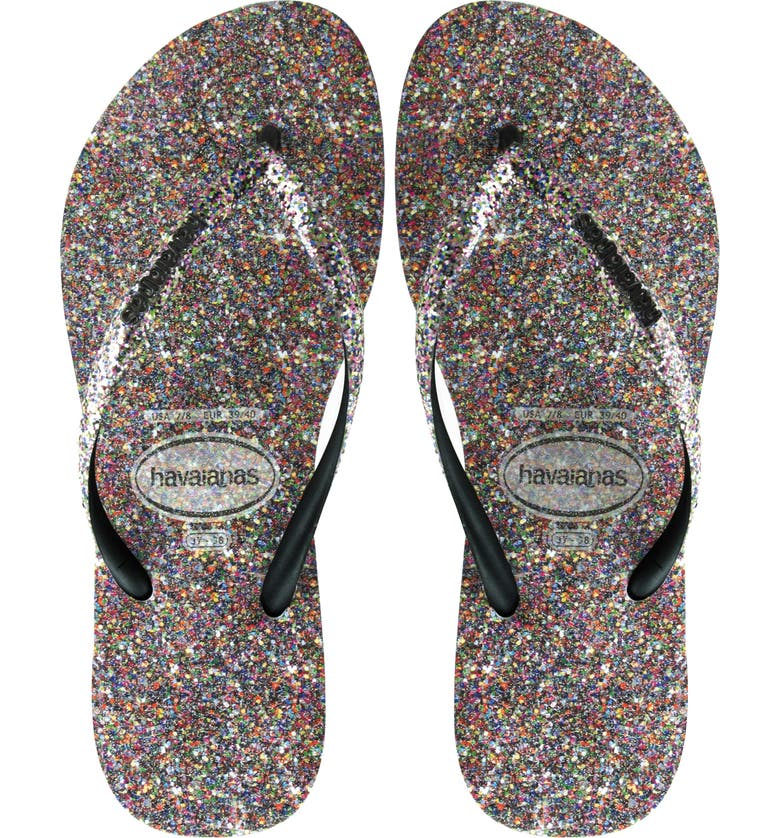 HAVAIANAS Slim Glitter Flip Flop, Main, color, 001
