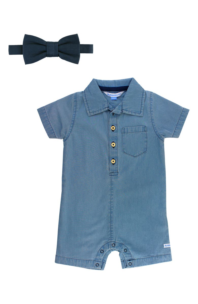 RUGGEDBUTTS Chambray Romper & Bow Tie Set, Main, color, DENIM
