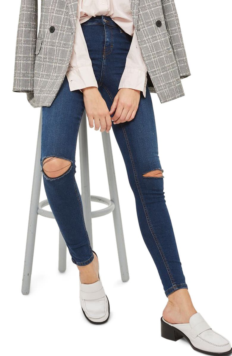 TOPSHOP Jamie Ripped Skinny Jeans, Main, color, 401