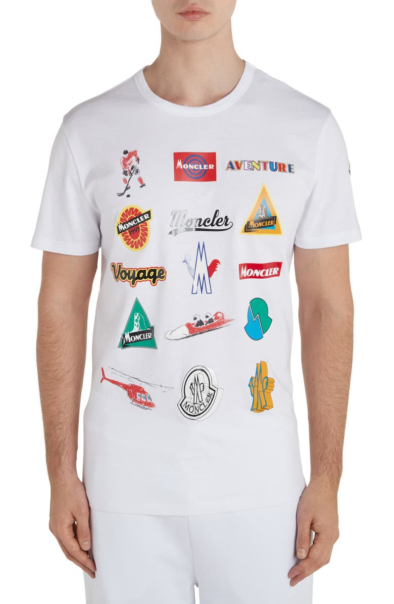 MONCLER Multi Logo T-Shirt, Main, color, 100