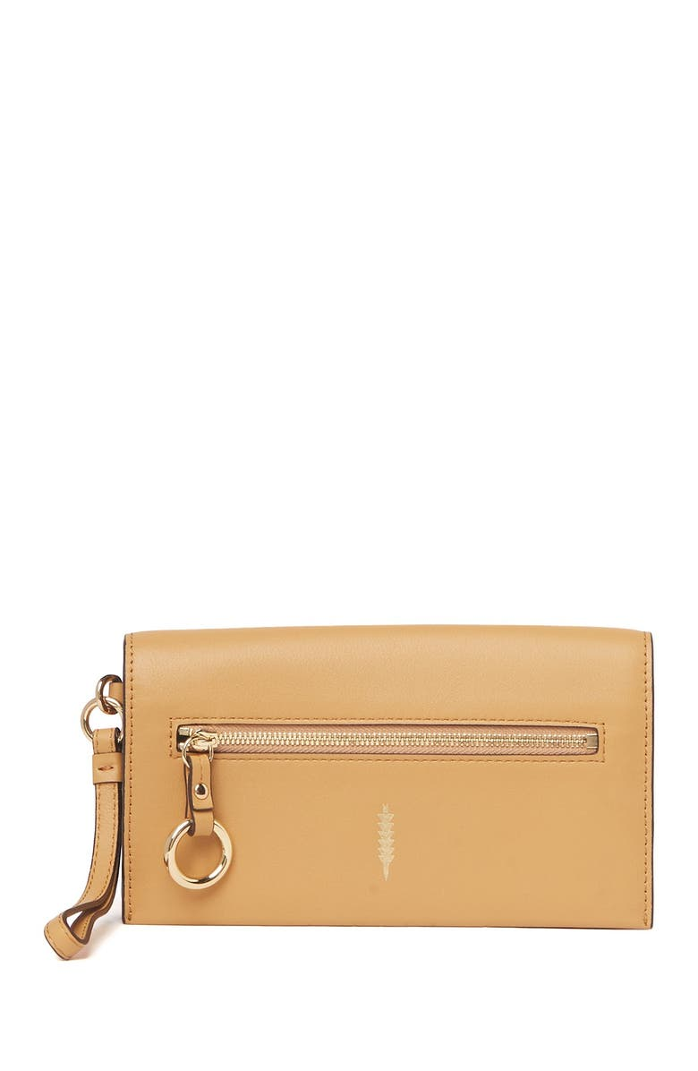 THACKER Eve Leather Crossbody Wallet, Main, color, CARAMEL