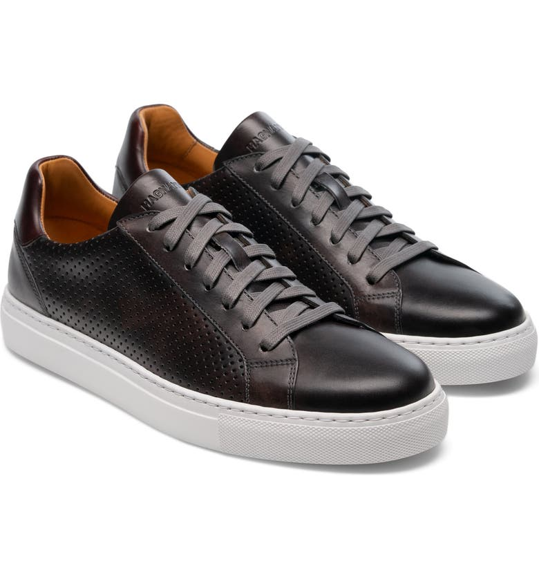 MAGNANNI Fede Perforated Sneaker, Main, color, GREY / MID BROWN