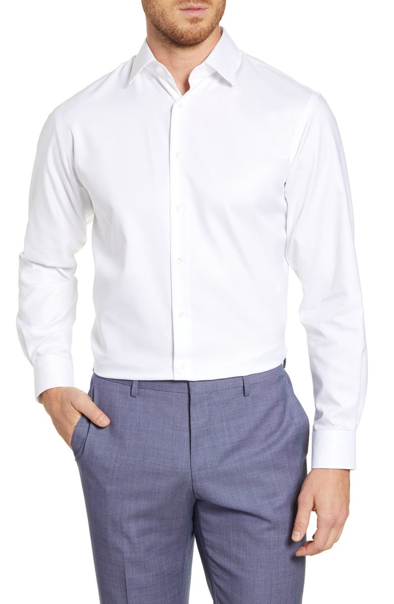 NORDSTROM MEN'S SHOP Nordstrom Traditional Fit Non-Iron Solid Stretch Dress Shirt, Main, color, WHITE