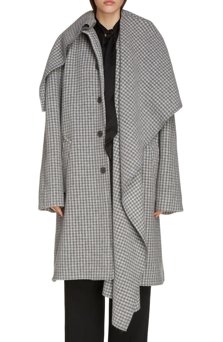 BALENCIAGA Houndstooth Wool Blend Coat with Oversize Scarf, Main, color, 020