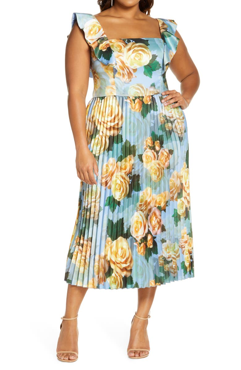 CHI CHI LONDON Floral Flounce Sleeve Pleated Cocktail Dress, Main, color, BLUE