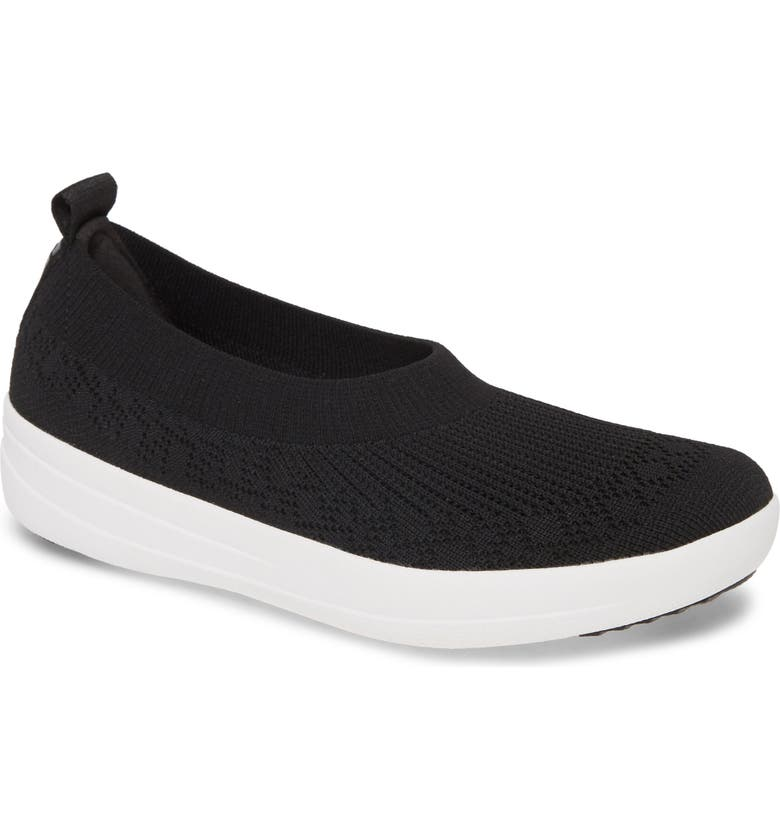 FITFLOP Uberknit Ballerina Flat, Main, color, BLACK FABRIC
