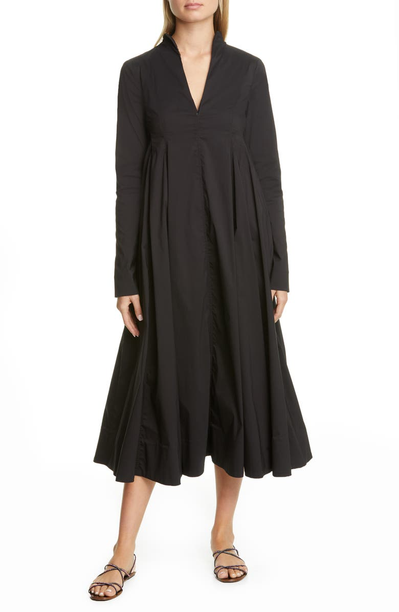BY ANY OTHER NAME Long Sleeve A-Line Midi Dress, Main, color, 001