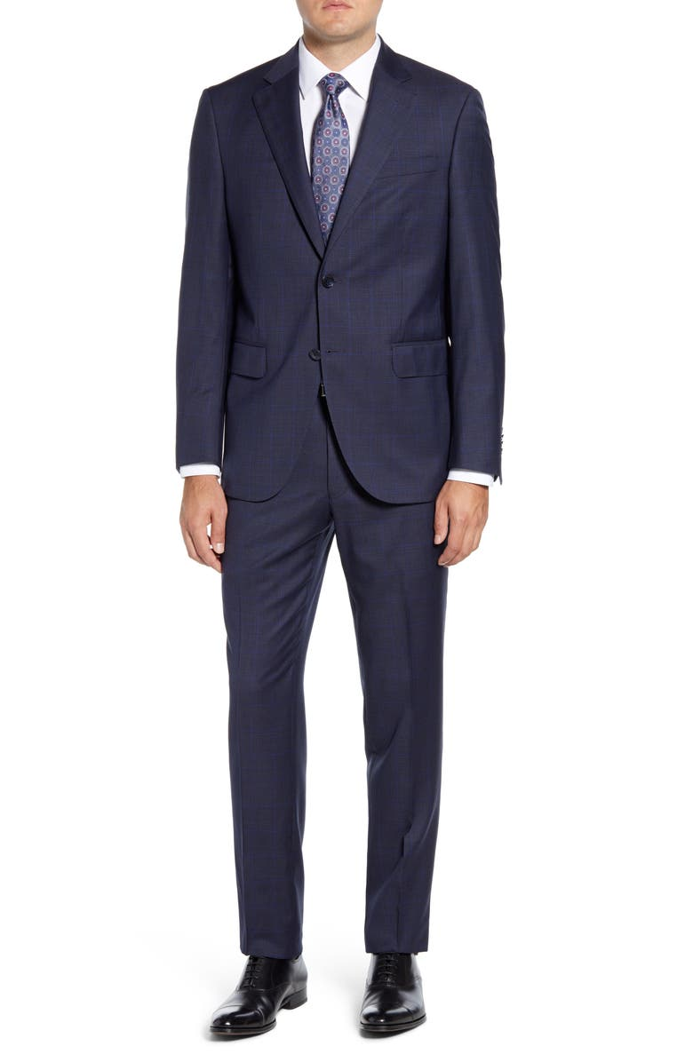 PETER MILLAR Flynn Classic Fit Windowpane Wool Suit, Main, color, 410