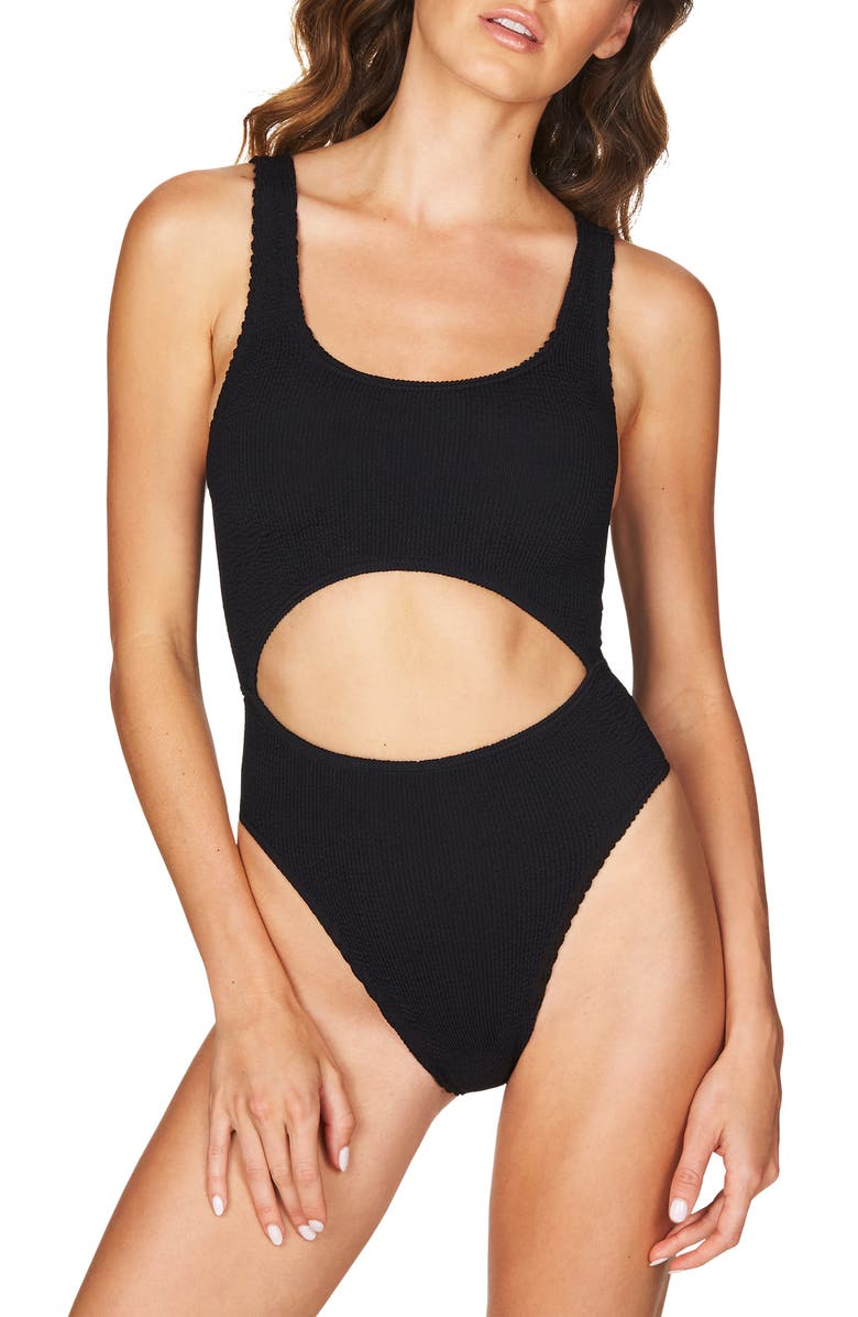BOUND BY BOND-EYE The Mishy High Cut Ribbed One-Piece Swimsuit, Main, color, Black