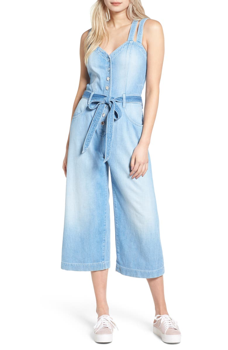 7 FOR ALL MANKIND <sup>®</sup> Denim Culotte Jumpsuit, Main, color, LUXE LOUNGE COASTAL BLUE