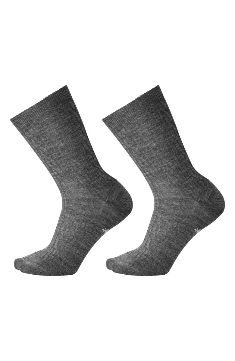 SMARTWOOL 2-Pack Cable Knit Crew Socks, Main, color, 030