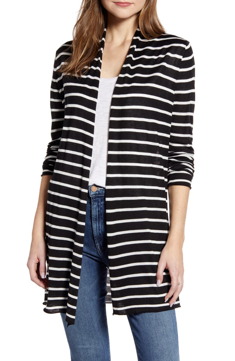 CENY Long Open Front Cardigan, Main, color, 001