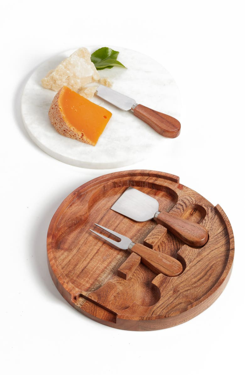 NORDSTROM at Home Marble Topped Cheese Board & Cheese Knives, Main, color, Brown