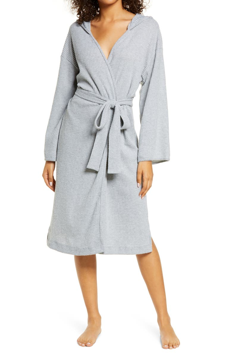 SOCIALITE Waffle Knit Hooded Robe with Side Slits, Main, color, LIGHT GREY