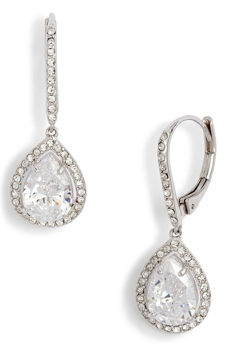 NORDSTROM Cubic Zirconia Drop Earrings, Main, color, CLEAR- SILVER