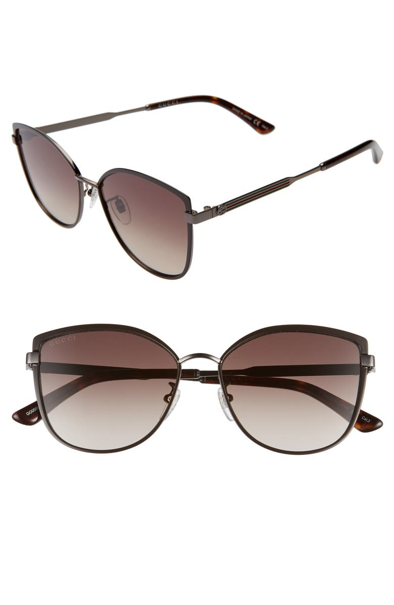 GUCCI 57mm Gradient Cat Eye Sunglasses, Main, color, BROWN/ BROWN GRADIENT
