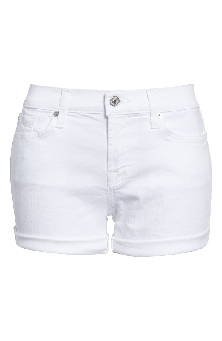 7 FOR ALL MANKIND <sup>®</sup> Cuffed Denim Shorts, Main, color, CLEAN WHITE