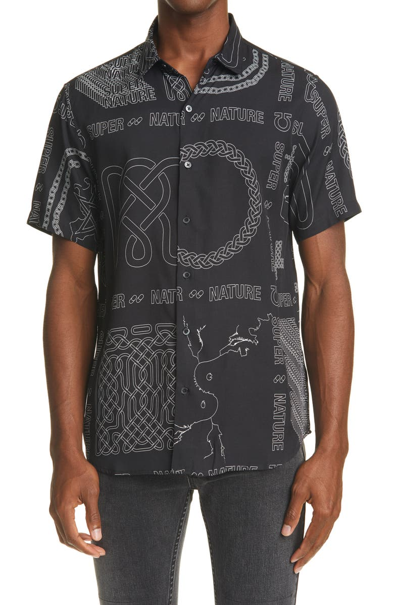 KSUBI Men's Super Nature Resort Short Sleeve Button-Up Shirt, Main, color, BLACK