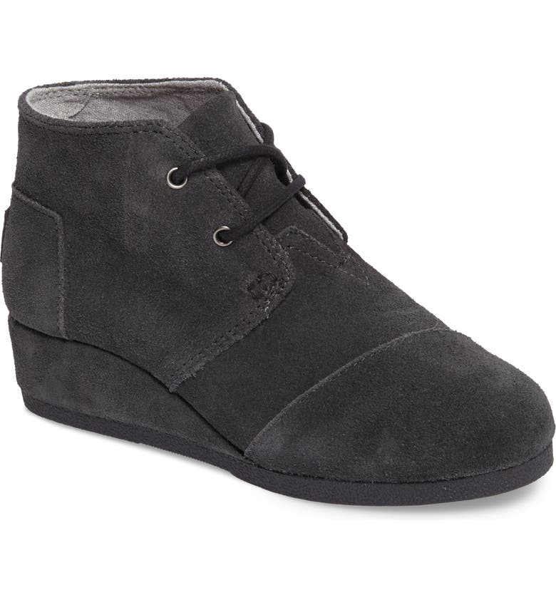 TOMS 'Desert - Youth' Wedge Bootie, Main, color, FORGED IRON GREY SUEDE