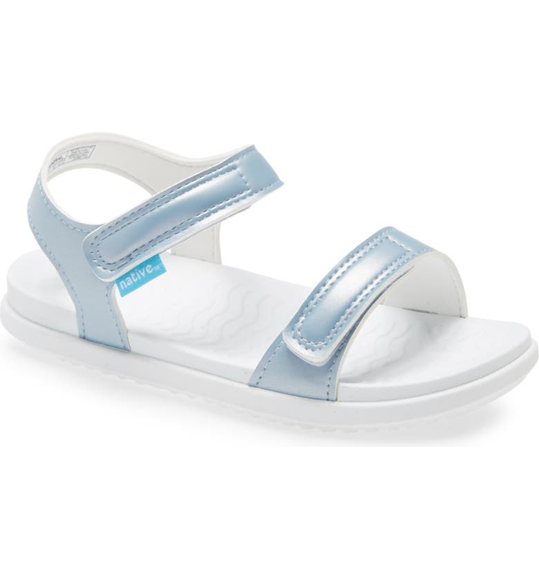NATIVE SHOES Charley Metallic Water Friendly Sandal, Main, color, SILVER/ WHITE