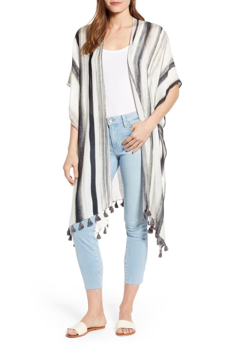 NORDSTROM Print Tassel Duster, Main, color, GREY- COMBO