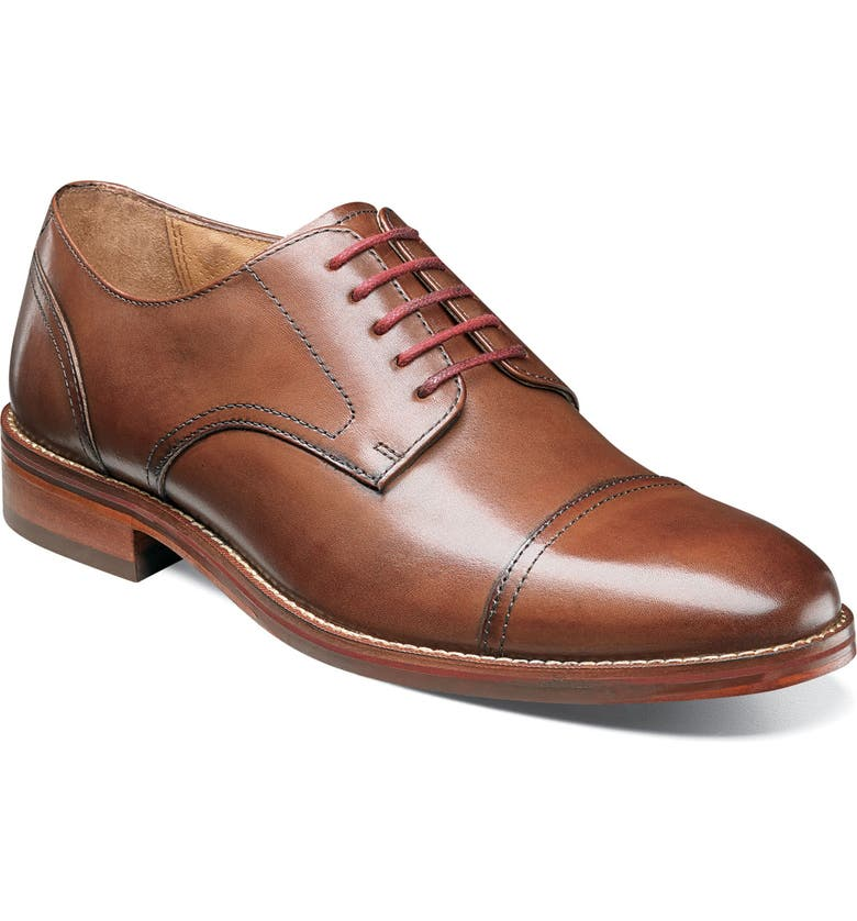 FLORSHEIM Salerno Cap Toe Derby, Main, color, COGNAC LEATHER