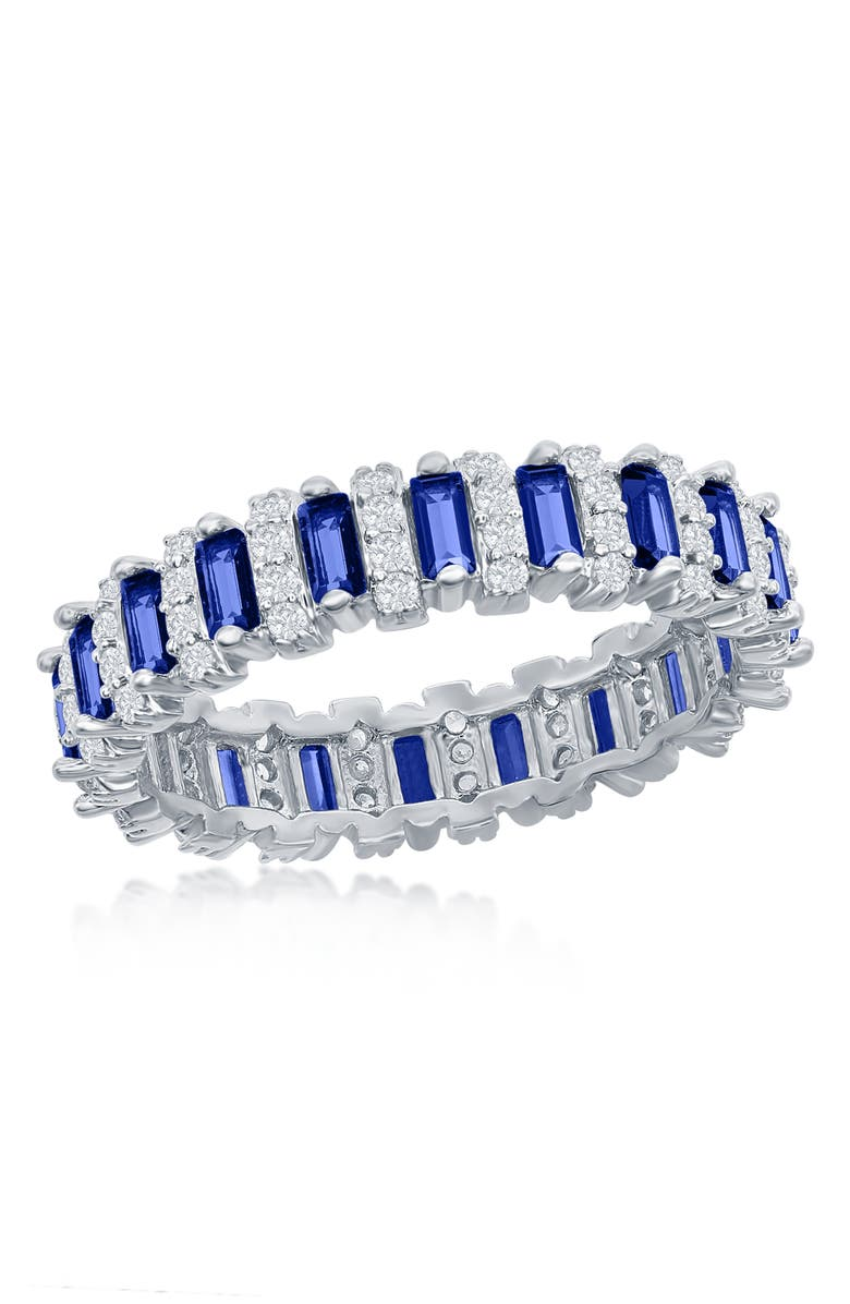 SIMONA Sterling Silver Round CZ & Sapphire Baguette Eternity Band Ring, Main, color, SILVER