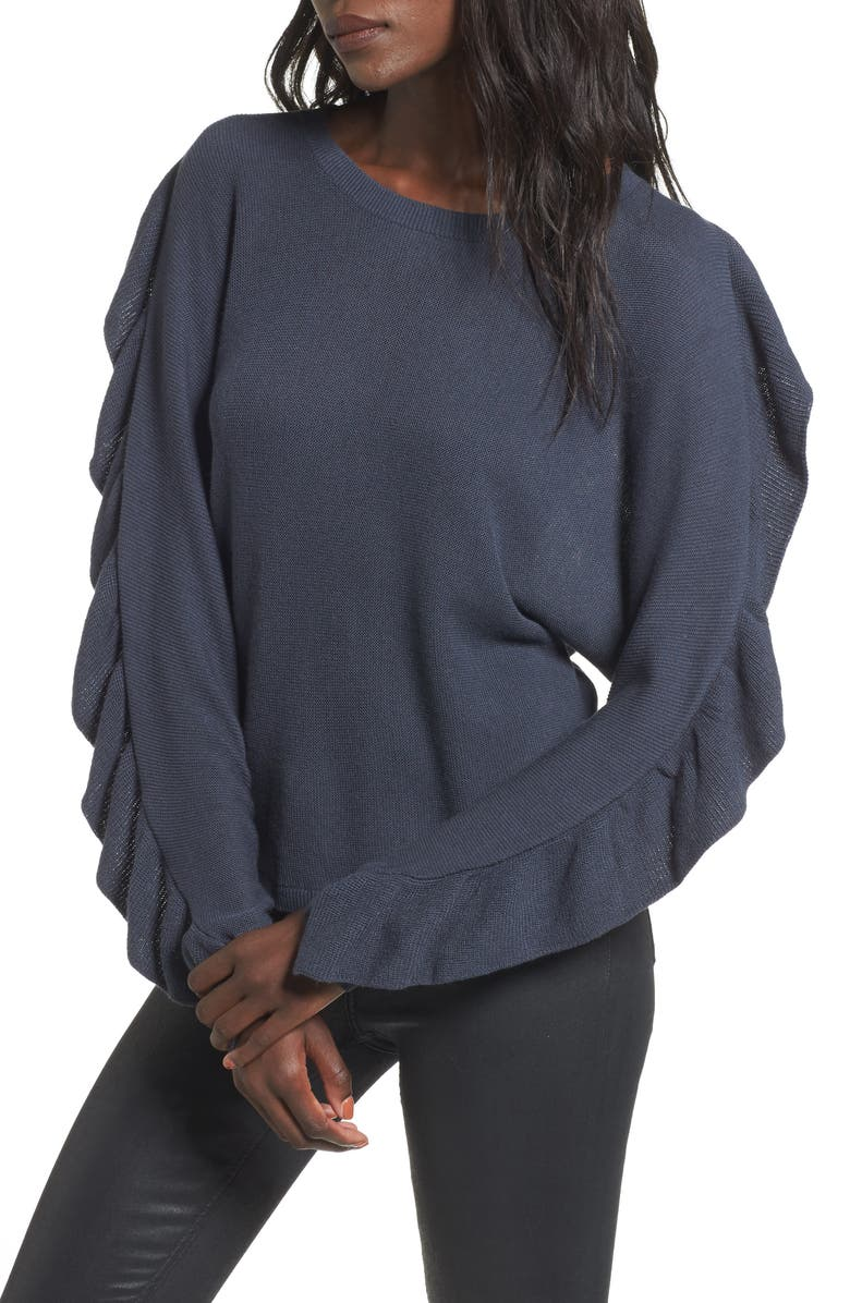 LEITH Ruffle Sleeve Sweater, Main, color, NAVY INDIA INK