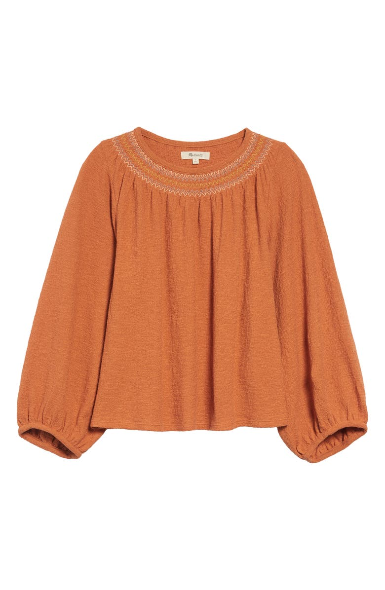 MADEWELL Embroidered Smocked Superlight Jacquard Top, Main, color, 800