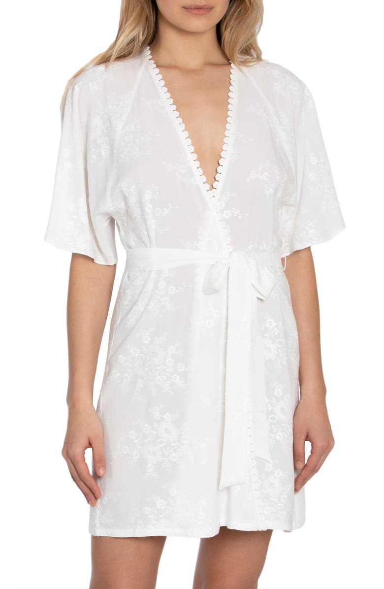IN BLOOM BY JONQUIL Free as a Bird Embroidered Short Robe, Main, color, IVORY