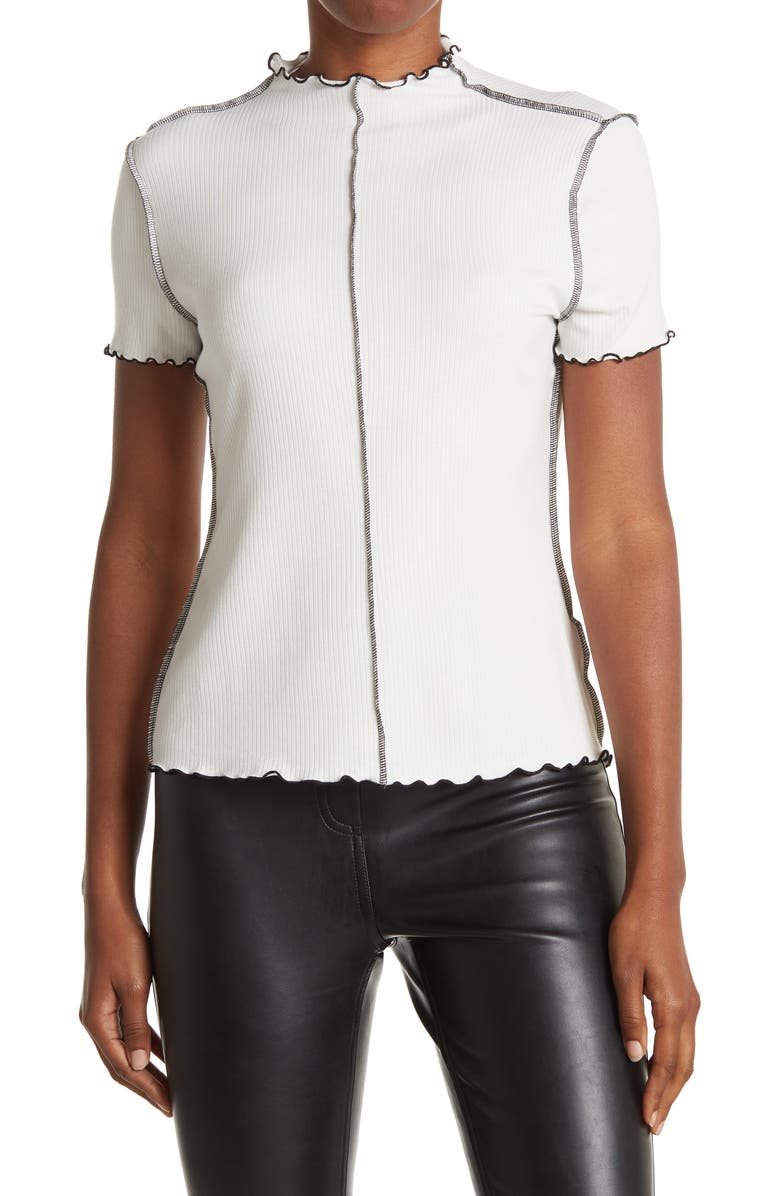 14TH AND UNION Funnel Neck Short Sleeve Top, Main, color, IVORY CLOUD