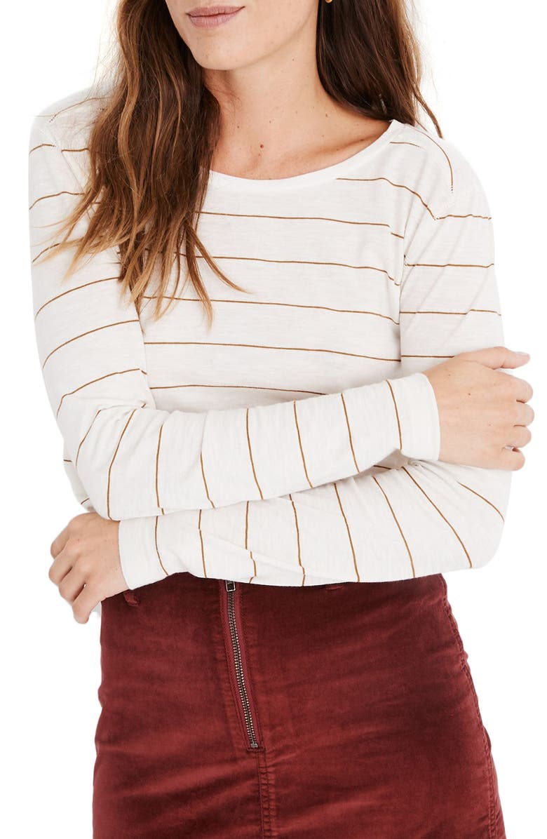 MADEWELL Stripe Whisper Cotton Long Sleeve Tee, Main, color, 200