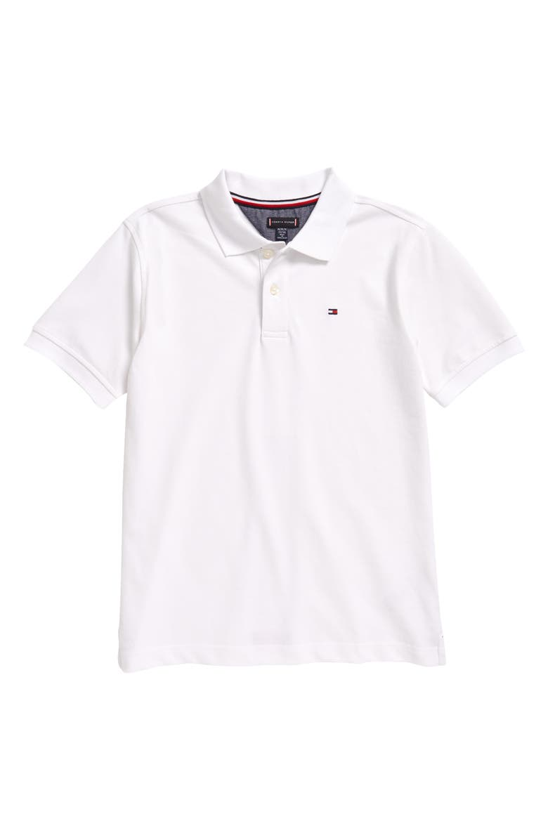 TOMMY HILFIGER Kids' Back Inset Polo, Main, color, BRIGHT WHITE