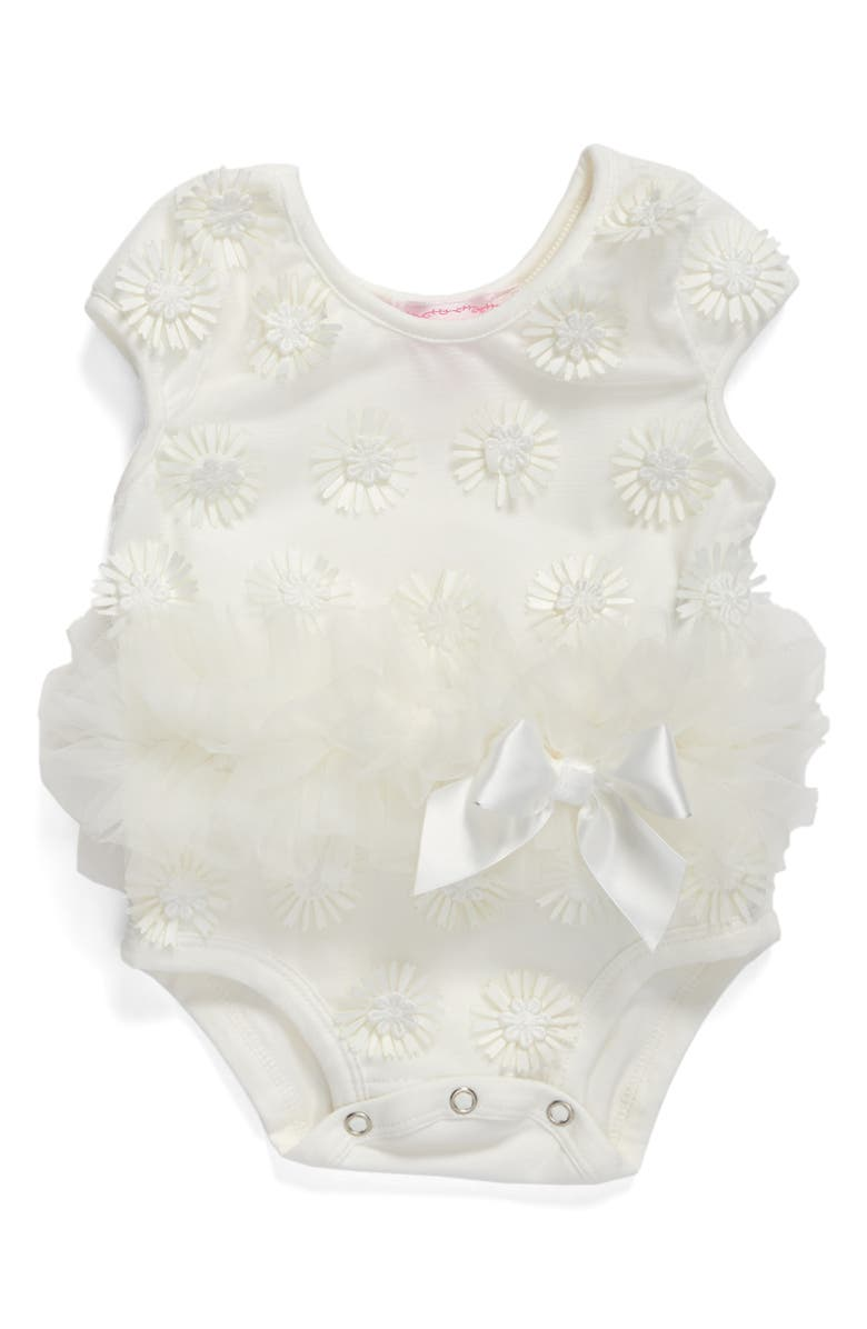 POPATU Daisy Tutu Bodysuit, Main, color, WHITE