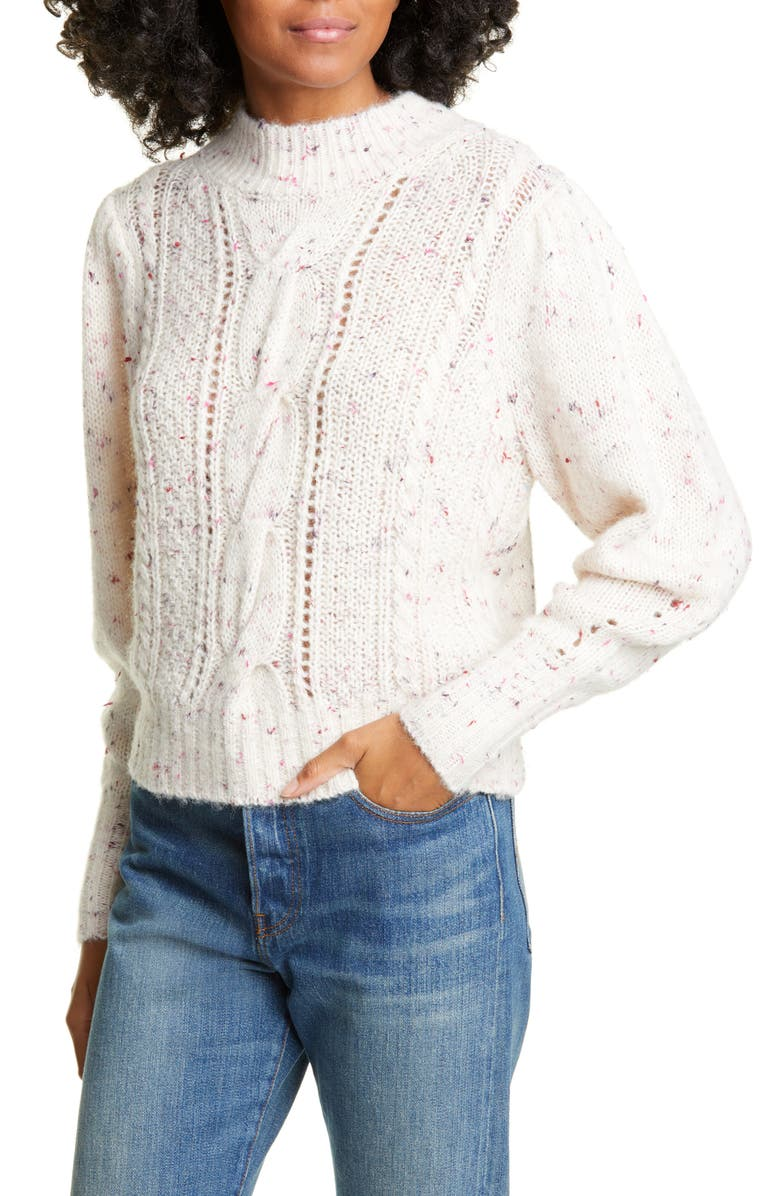REBECCA TAYLOR Tweed Cable Pullover, Main, color, 100