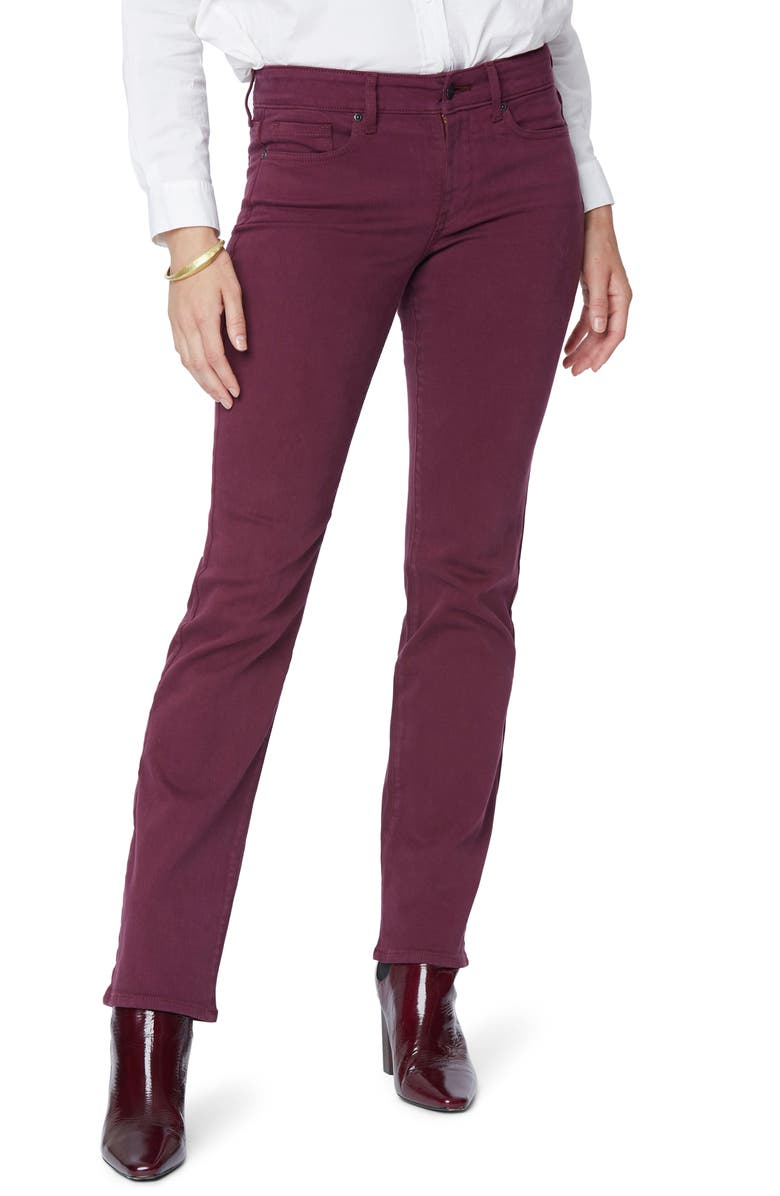 NYDJ Marilyn Straight Leg Stretch Jeans, Main, color, DEEP MERLOT